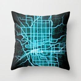 Spokane, WA, USA, Blue, White, Neon, Glow, City, Map Throw Pillow
