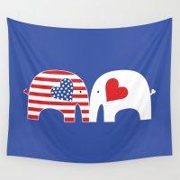 friendship Wall Tapestries featuring U.S.-Japan Friendship Elephants by Elephant Love
