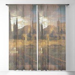 Villa d'Este in Tivoli by Oswald Achenbach Sheer Curtain