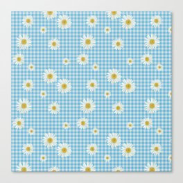 Daisies On Blue Gingham Canvas Print