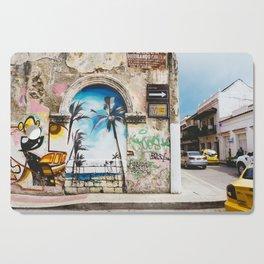 Cartagena, Colombia Street Art - Palm Trees Cutting Board