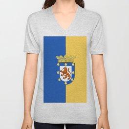 flag of santiago de Chile Unisex V-Neck