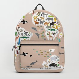 Cartoon animal world map, back to schhool. Animals from all over the world rosybrown background Backpack
