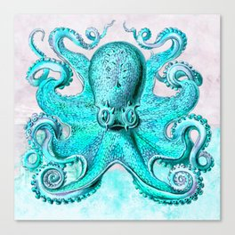 Octopus in Turquoise Canvas Print