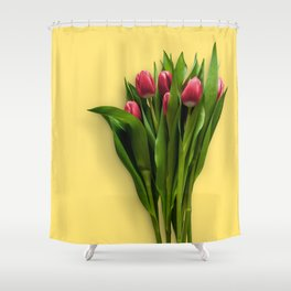 Yellow Bright Light Amber Pink Tulip Blossoms Flatlay Shower Curtain