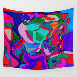 Many Colored Shapes Supporting Each Other in Space Wall Tapestry