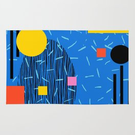 Crank - 80s retro throwback minimal abstract painting memphis style trendy vibes all day Rug