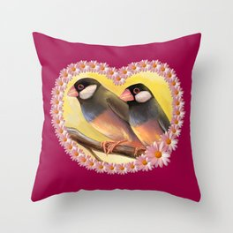 Java Sparrow finches realistic painting Throw Pillow