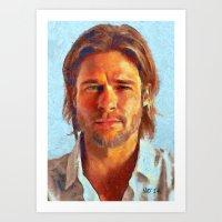 brad pitt Art Prints featuring Brad Pitt I by Nick Arte