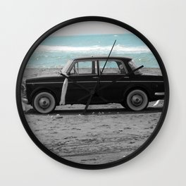 Weddings car on the beach 2 Wall Clock