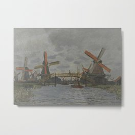 Windmills near Zaandam Metal Print