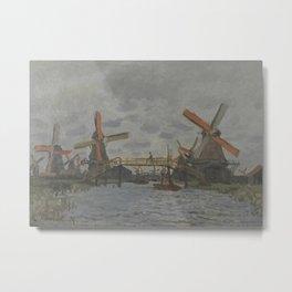 Windmills near Zaandam Metal Print