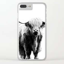 Newspaper Print Style Highland Cow. Scotland, Bull, Horns. Clear iPhone Case