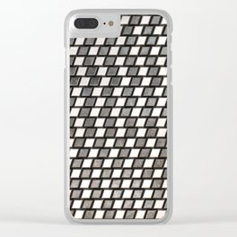 Irregular Chequers - Black Steel and Stelel - Industrial Chess Board Pattern Clear iPhone Case
