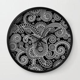 Boho Black & White Paisley Pattern Wall Clock