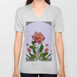 GREY ORNATE VINTAGE  ROSES DESIGN Unisex V-Neck