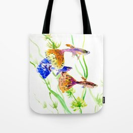 Guppy Fish colorful fish artwork, blue orange Tote Bag