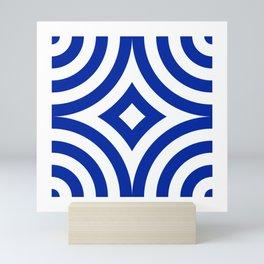Blue White Tile Mini Art Print