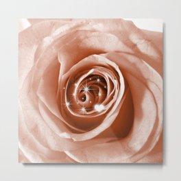 Trendy Bling on Rose,soft peach Metal Print