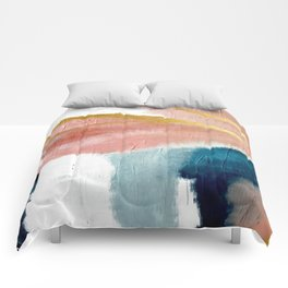 Exhale: a pretty, minimal, acrylic piece in pinks, blues, and gold Comforters