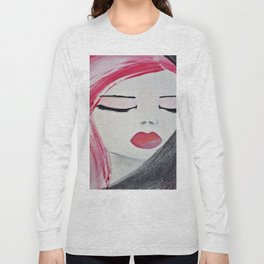 Shy Girl. Abstract Pink Girl. Pink Lips. Pink Hair. Jodilynpaintings. Eyelashes. Gift for All Girls. Long Sleeve T-shirt