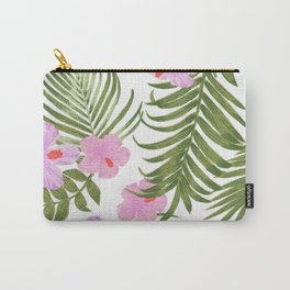 Modern pink green palm tree tropical floral Carry-All Pouch