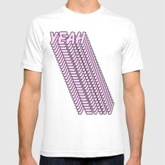 YEAH Typography Pink Blue White SMALL Mens Fitted Tee