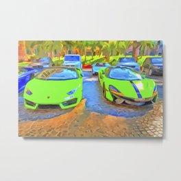Dubai Super Cars Pop Art Metal Print