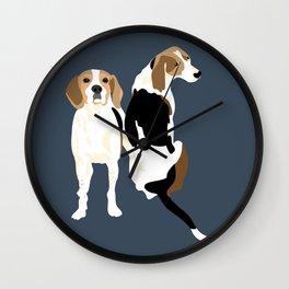 Gracie and Greta tree walker coonhounds Wall Clock