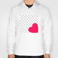 polka dot Hoodies featuring Red heart polka dot by Miracle