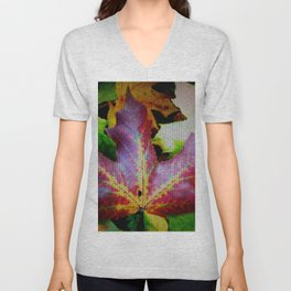 Autumn Leaves - Colored Glass Unisex V-Neck