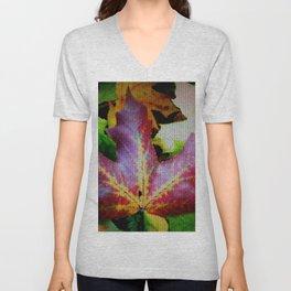 Autumn Leaves - Colored Glass Unisex V-Neck