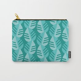 Teal Banana Leaves Print Carry-All Pouch