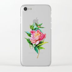 bright red pink peony Clear iPhone Case