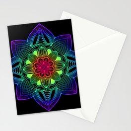 Rainbow Mandala Black Stationery Cards