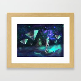 The Aliens Attack The Egyptian Pyramids  Framed Art Print