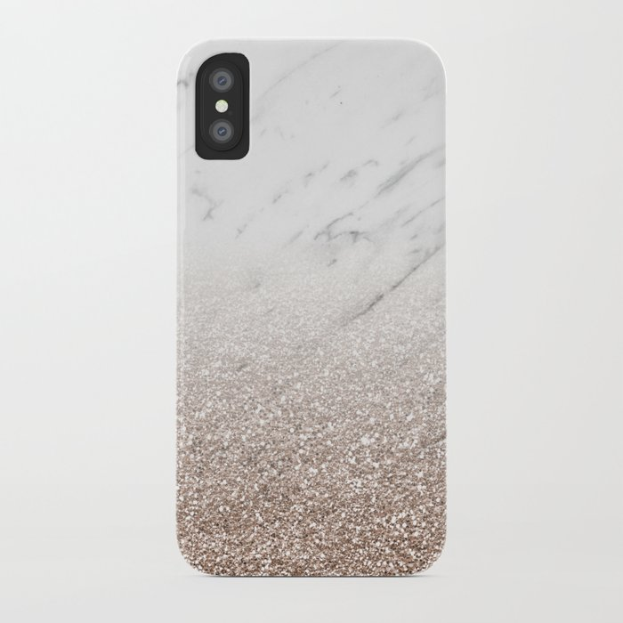 Glitter ombre - white marble   rose gold glitter iPhone Case by ... 5843c713d125