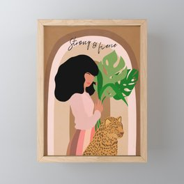 Girl with Monstera and Leopard - Strong and Fierce Framed Mini Art Print