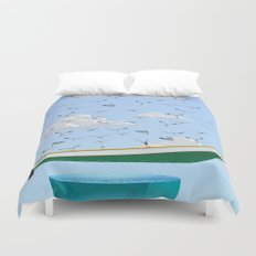 Boat and Birds Duvet Cover