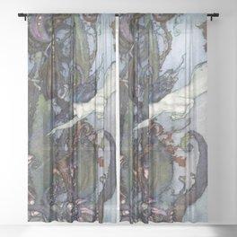 Vintage Mermaid  Sheer Curtain