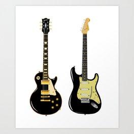 Black Guitar Duo Art Print