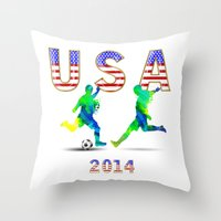 usa Throw Pillows featuring USA by Robin Curtiss