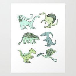 Happy dinosaur Art Print