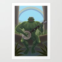 muppet Art Prints featuring A Very Manly Muppet by Crystal Kan