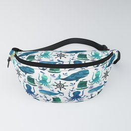 Watercolor Ocean Nautical Octopus Whale Pattern Fanny Pack