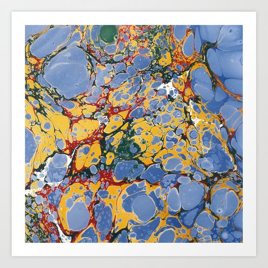 Marble Blue / Yellow Art Print