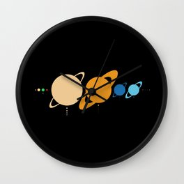 Planets And Moons To Scale Wall Clock