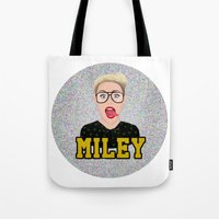 miley cyrus Tote Bags featuring Miley Cyrus by Jessica Guetta