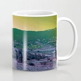 purple yellow green alien planet landscape mountains Coffee Mug