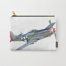 Worry Bird P-51 Mustang Warbird Colored Pencil Drawing Carry-All Pouch